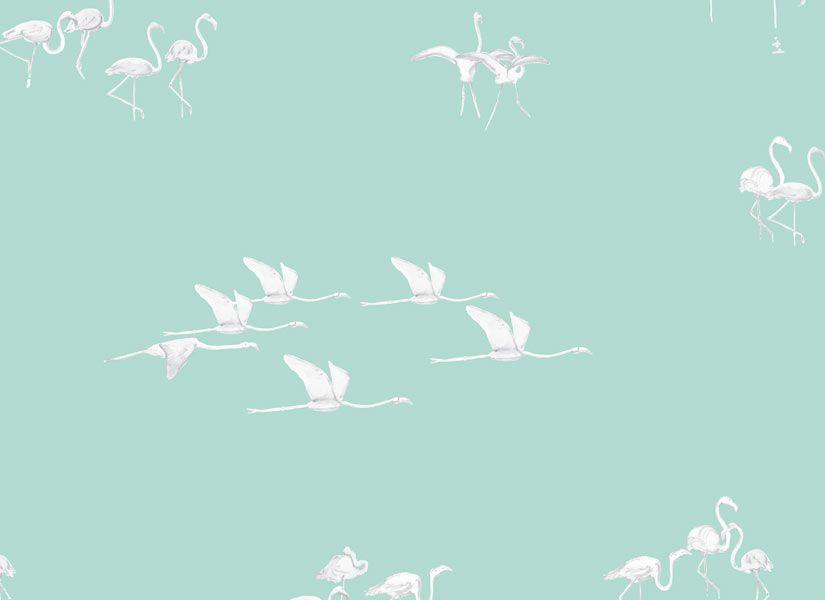 Fond Vert Clair ohmywall papier peint flamants blancs fond vert clair | papier peint