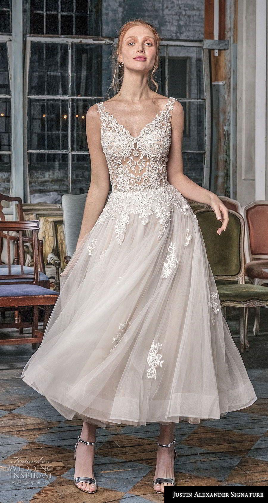 Justin Alexander Signature Fall 2018 Wedding Dresses Wedding Inspirasi Tea Length Wedding Dresses Lace Short Wedding Dress Lace Top Wedding Dress [ 1688 x 900 Pixel ]