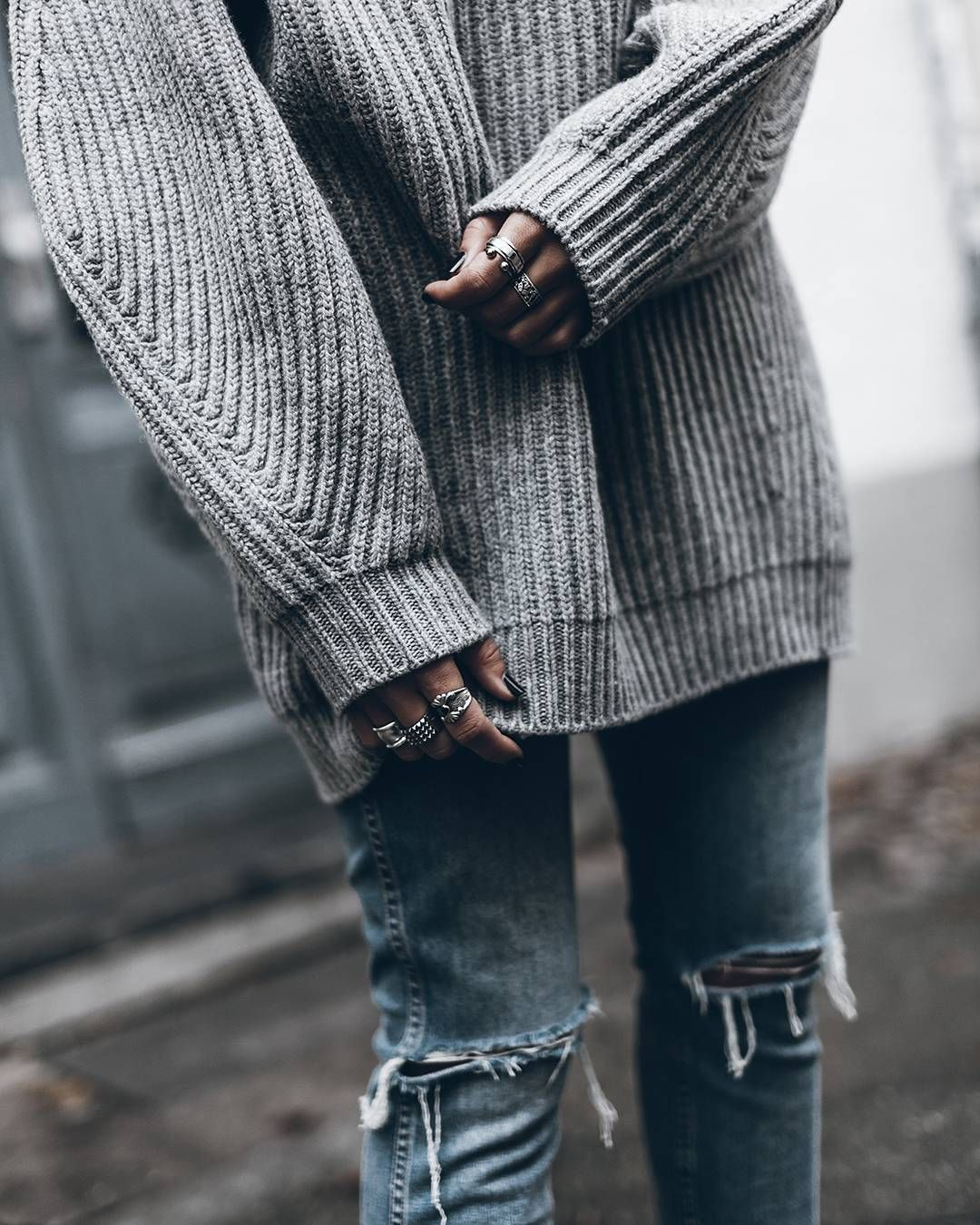 Big loose knit sweater & ripped jeans. (mikutas) | My Style ...