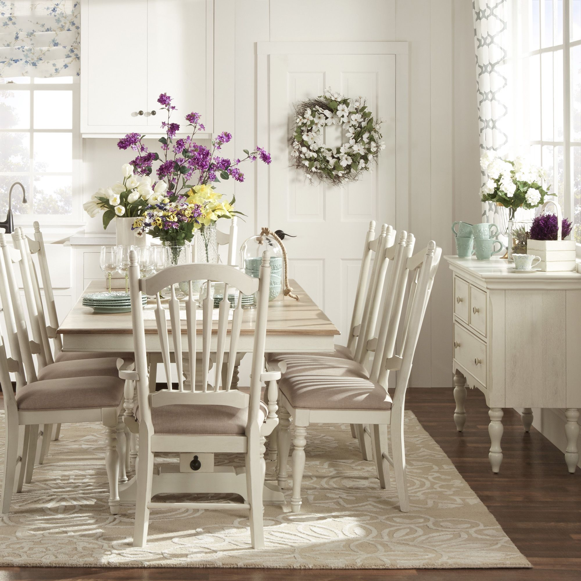 Country Dining Table Sets: TRIBECCA HOME McKay Country Antique White Pedestal