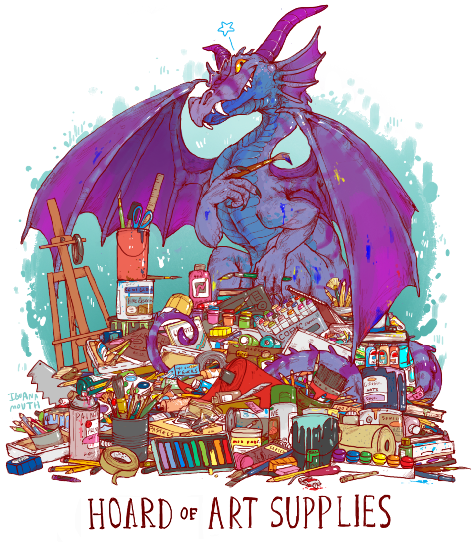 iguanamouth:  UNUSUAL HOARD commission for torotix ! almost everything in this one can be found somewhere on the floor of my room