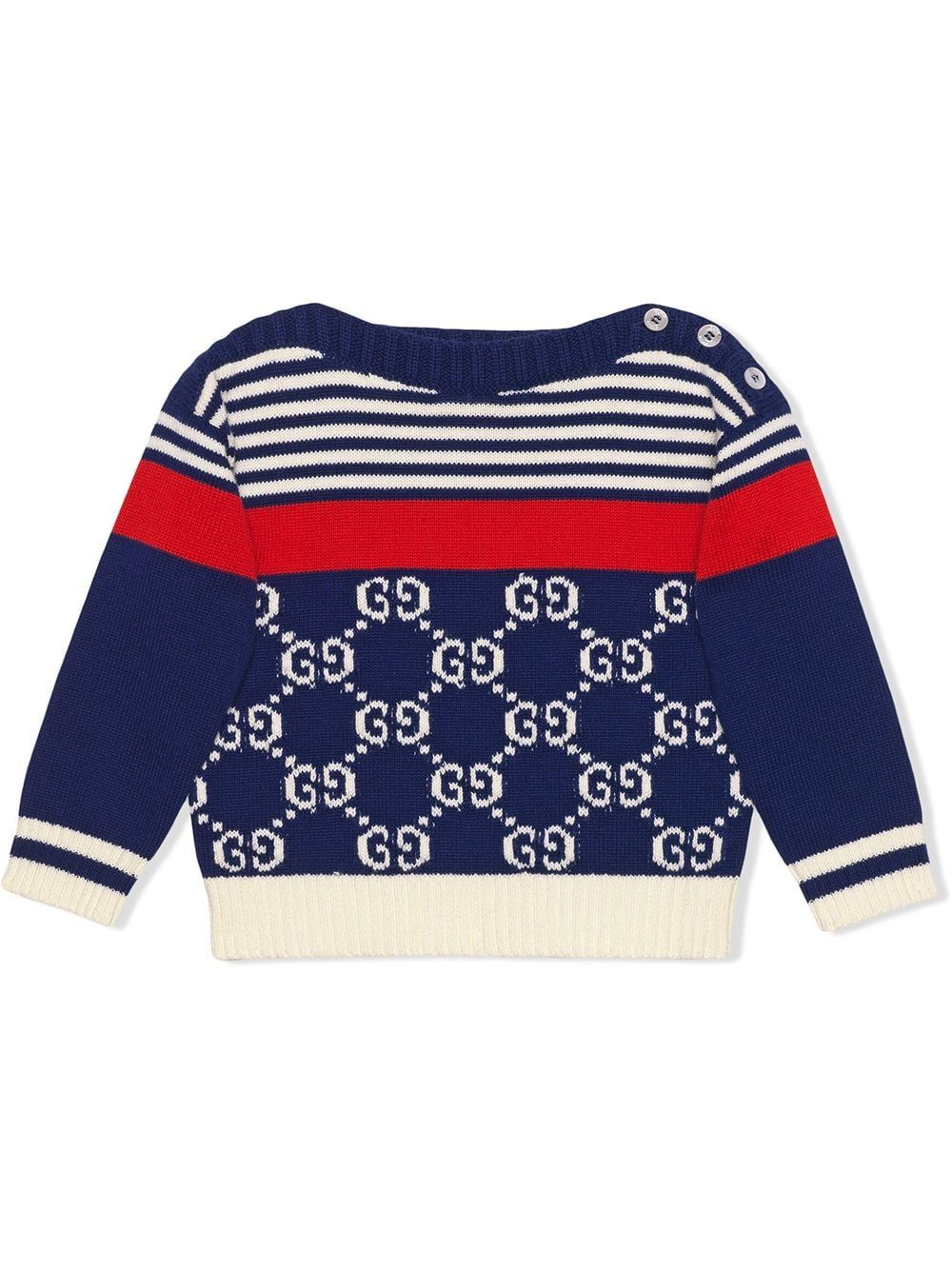 d2cd8c34d Gucci Kids Baby GG and stripes knit sweater - Blue in 2019 ...
