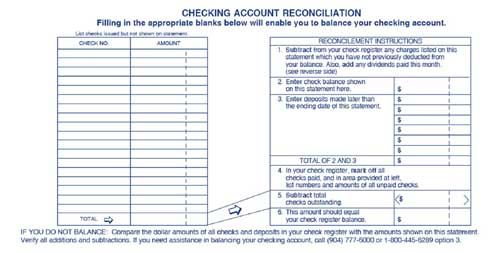 Printable Checking Account Balance Sheet Checking Account