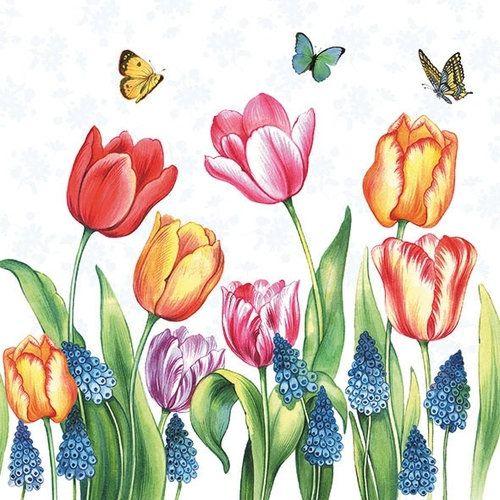 Tulips And Mascari Decoupage Napkin Тюльпаны Рисунки и