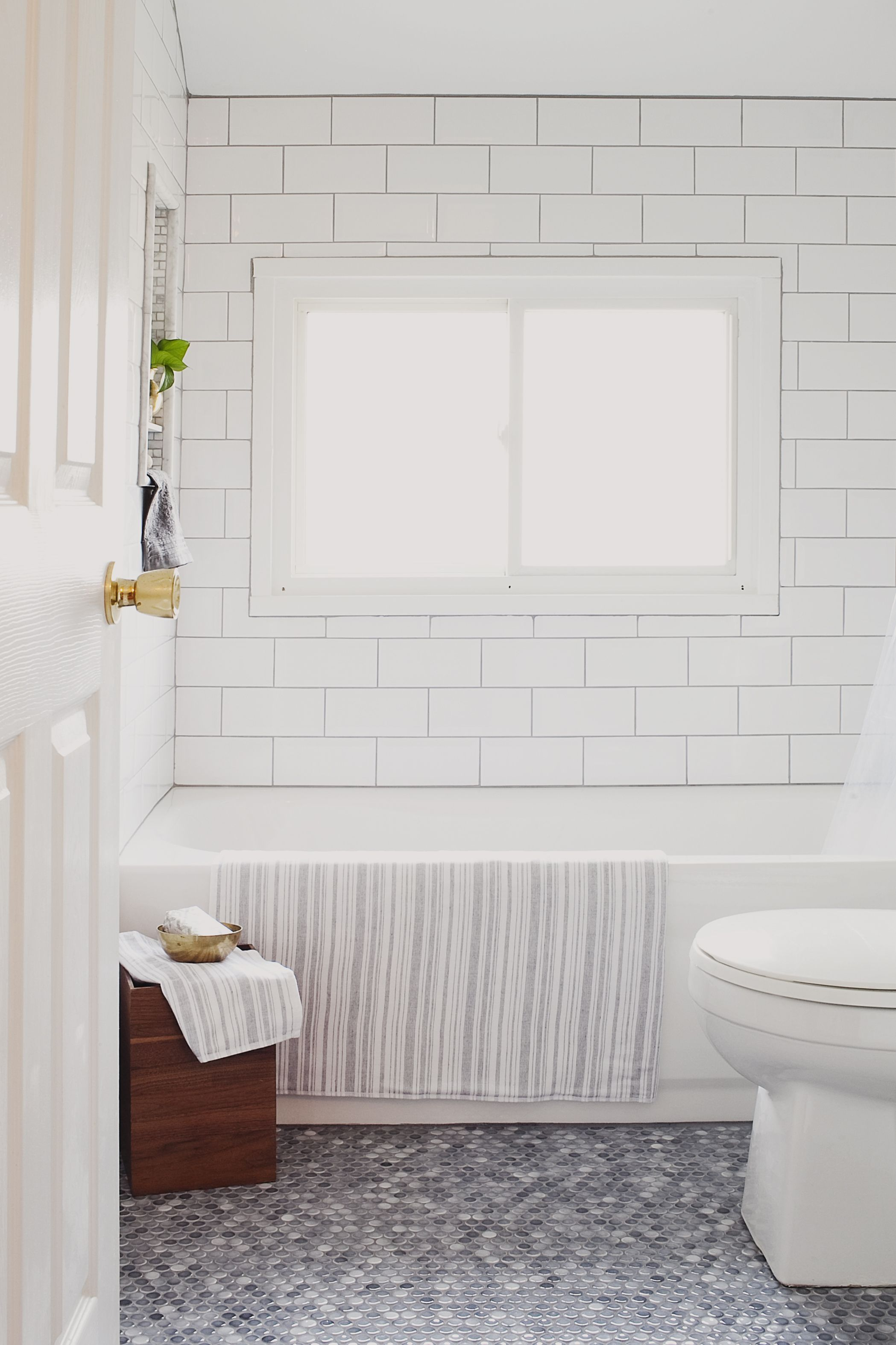 My home guest bath porcelain tile and bath for White square floor tiles