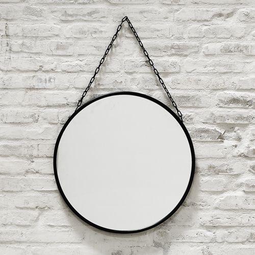 Miroir en fer noir et cha ne rond ou ovale downtown for Miroir rotin noir