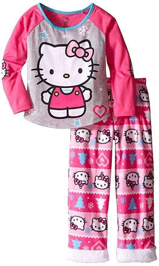 7a5e331f3 Hello Kitty Sanrio Girls 2 Piece Long Sleeve Fleece Pajama Set Size 6/6X #
