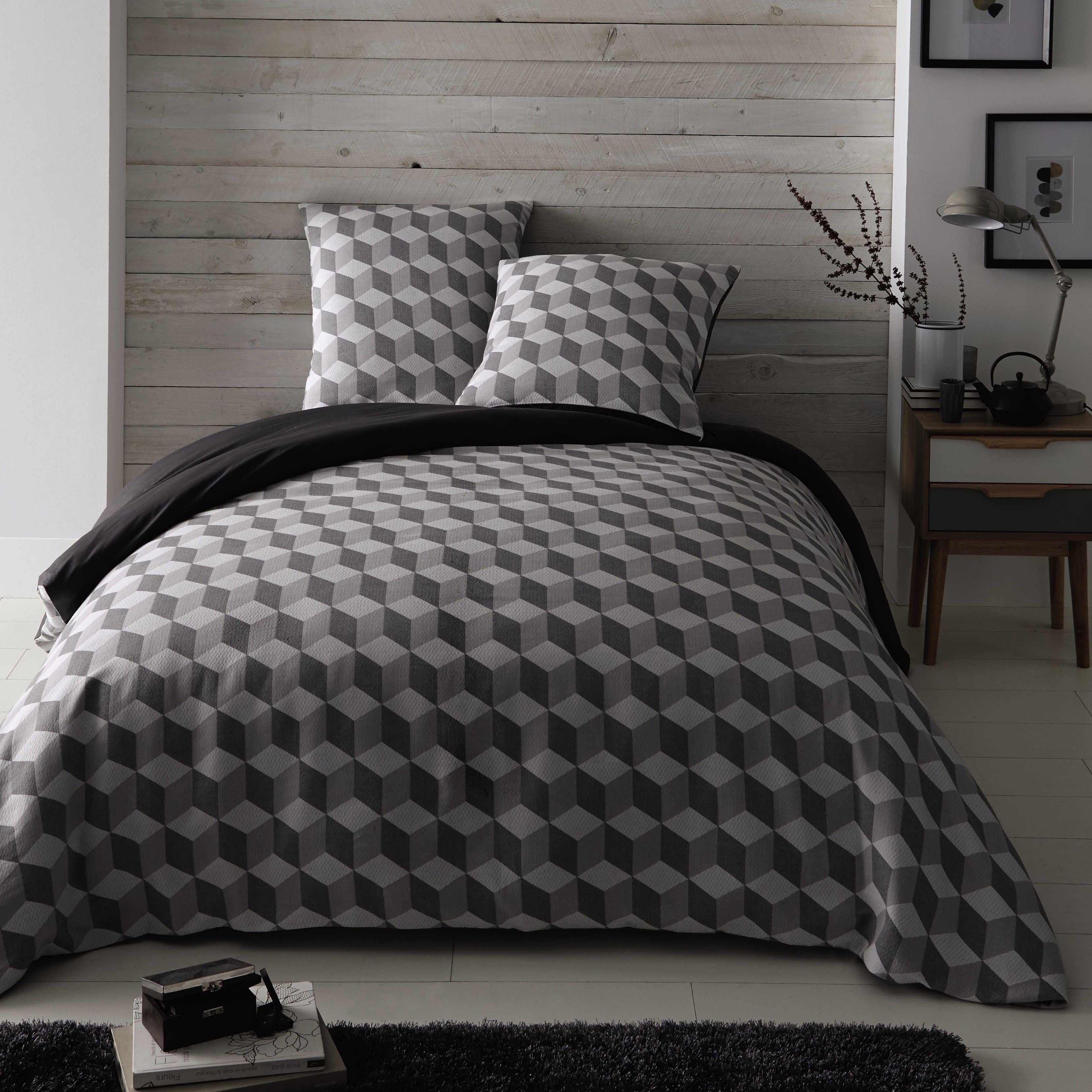 Parure de lit 240 x 260 cm en coton blanche grise cubic Housse de couette maison du monde soldes
