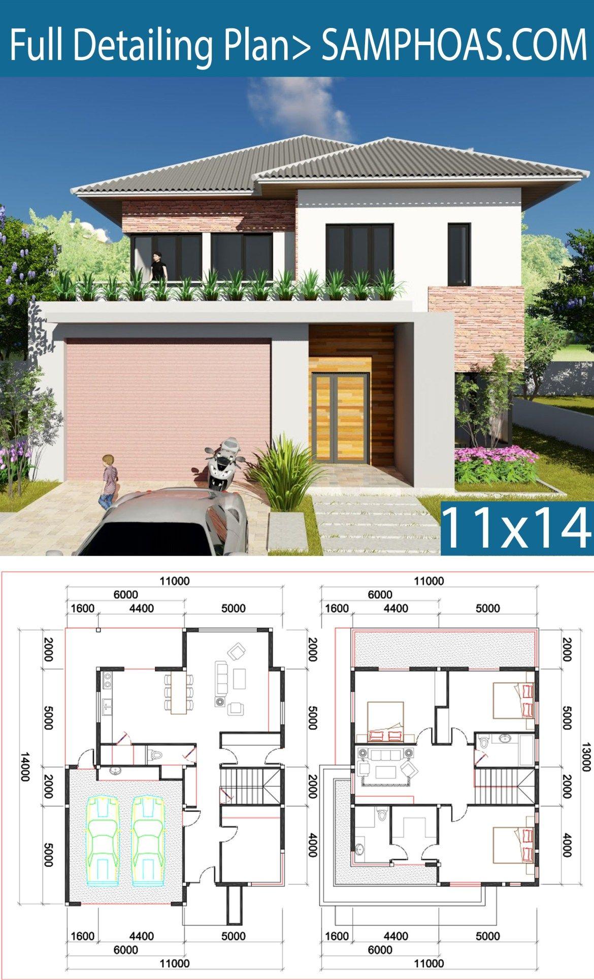 3 Bedroom Villa Design 11x13m Samphoas Plansearch Villa Design House Architecture Design Small House Layout
