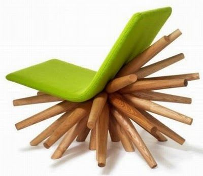 Lounge Chair Aesthetics, Interesting Design Large Wooden Stakes Moulded On  Seat Frame. Art Gallery