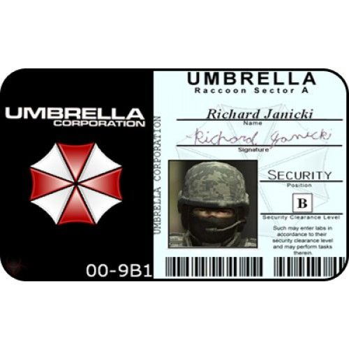 Umbrella Corp Security ID Card From the Identity Props Store - blank id card template