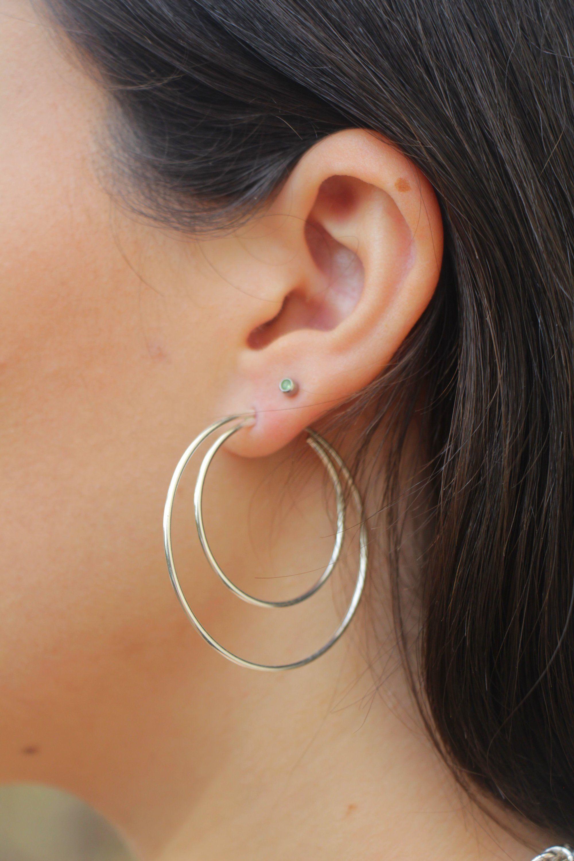 Large 925 Sterling Silver Triangle Hoop Drop Earrings
