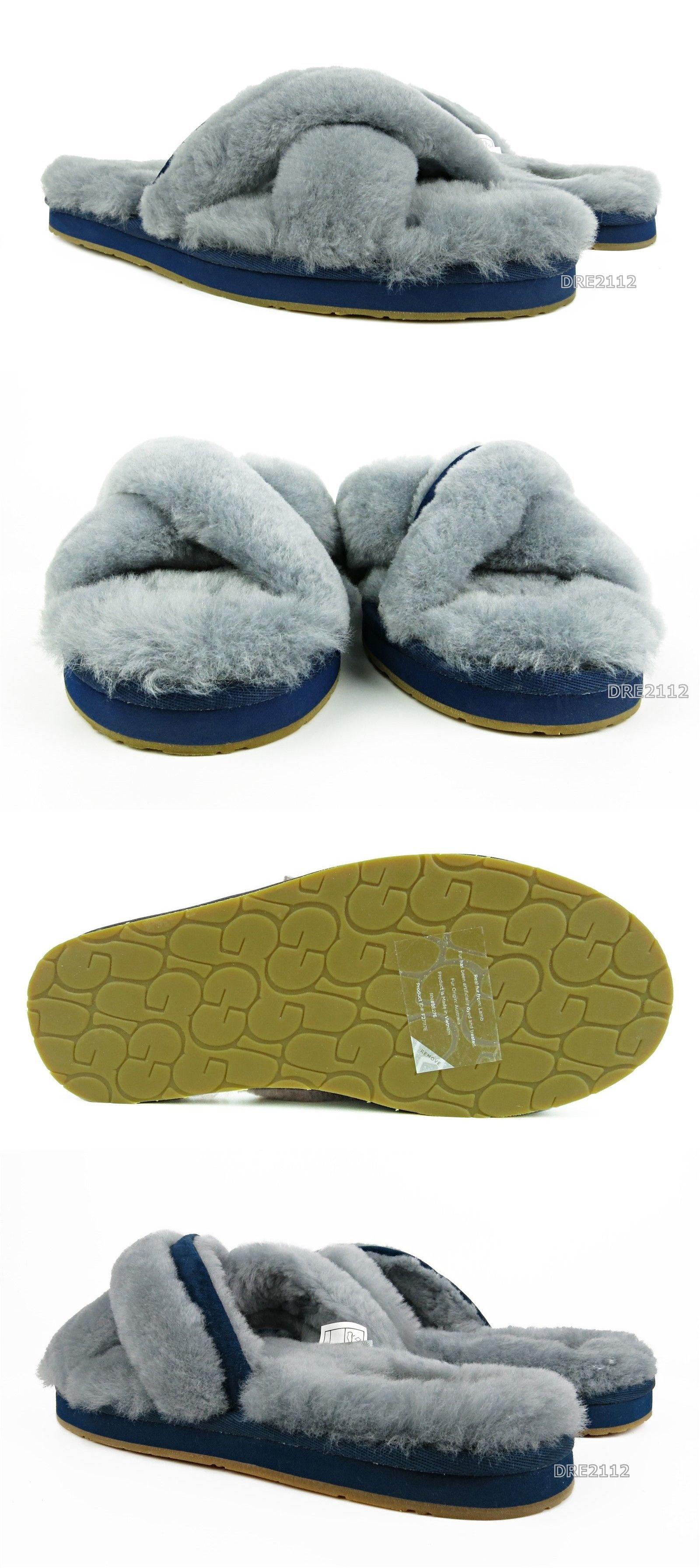 39bb77f5024 Slippers 11632: Ugg Abela Geyser Grey Blue Suede Fur Slippers Womens ...