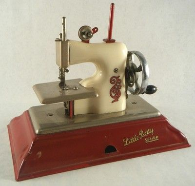 Little Betty Senior Toy Sewing Machine Antique - Just like the one my mother got from the Goodwill for me when I was about 5 years old. I made a lot of doll quilts and dresses with that little machine. Wish I still had it today!