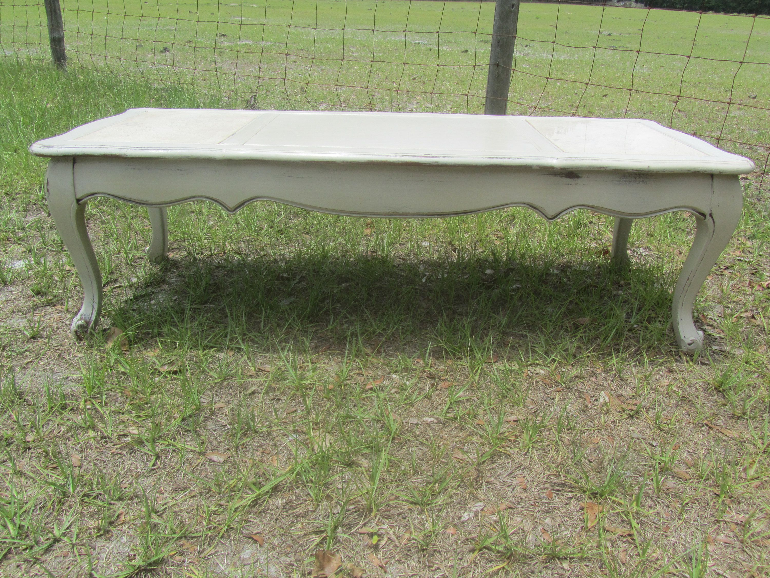 Shabby Chic Coffee Table Furniture Distressed Table Marble Top