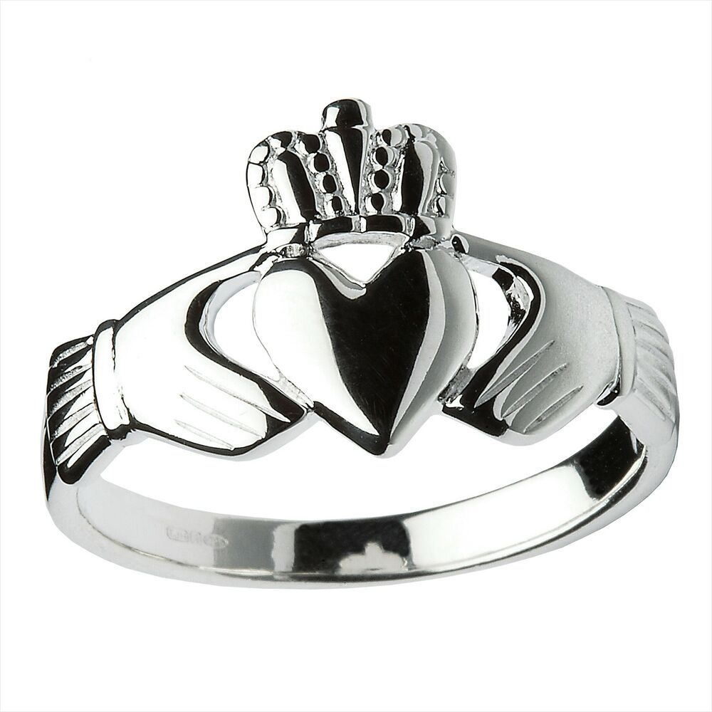 Sterling Silver Heavy Men s Claddagh Ring 14 3mm 52 Simple