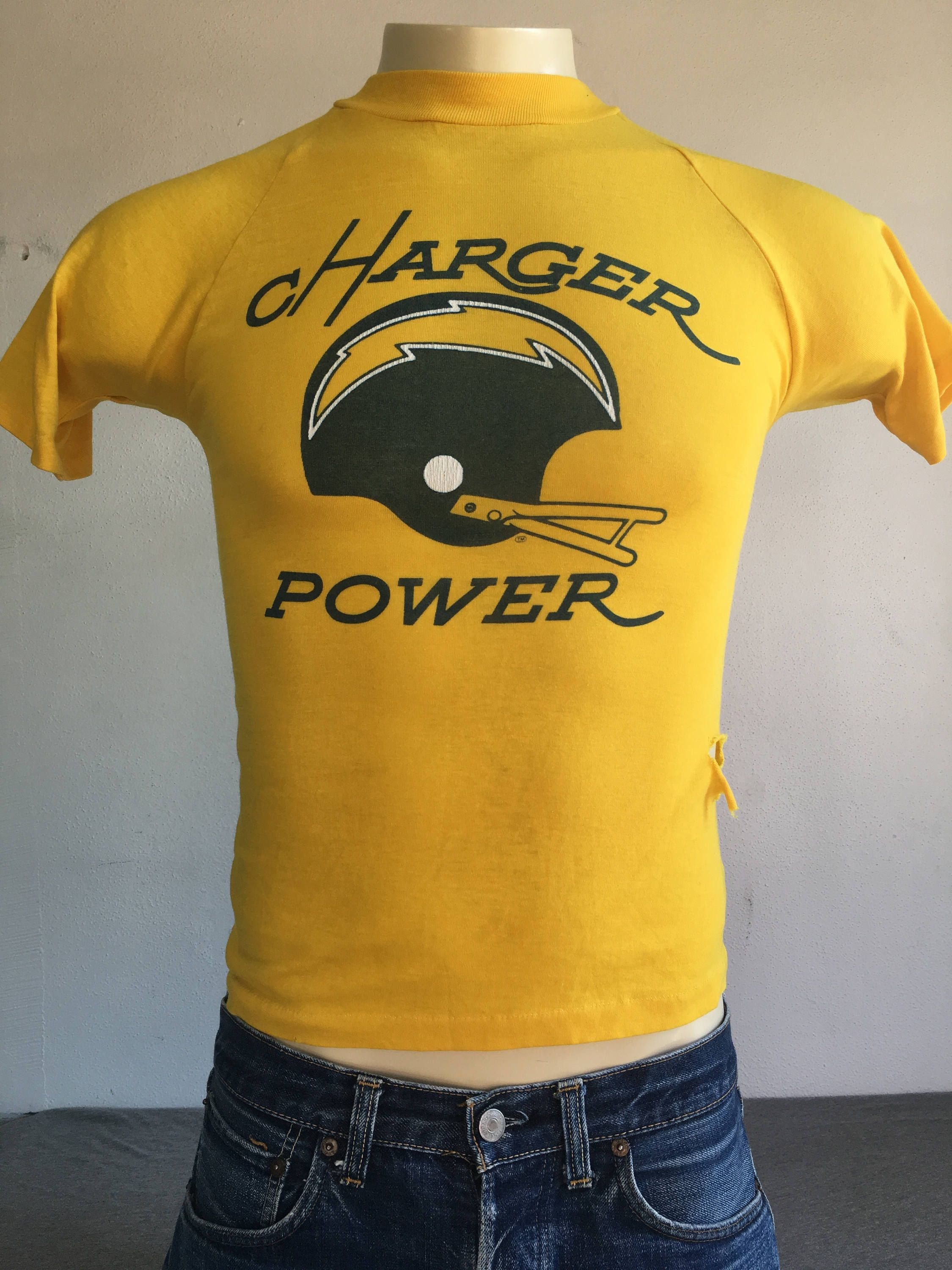 b02a31479 CHARGERS Shirt 70 s 80 s Vintage  San Diego LA Los Angeles Charger Power  Football Tshirt  Classic Helmet Raglan NfL Yellow Gold XS Small by  sweetVTGtshirt ...