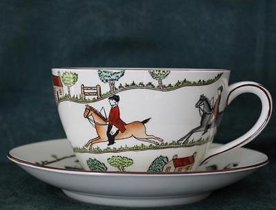 Crown Staffordshire Hunting Scene Jumbo 1 Pint Breakfast Tea Cup Saucer