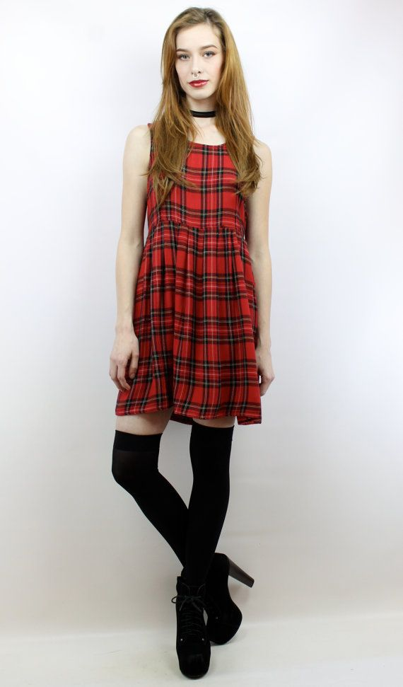 c14fdeae7a5 Vintage 90s Red Plaid Babydoll Dress S M 90s Grunge Dress Red Plaid ...
