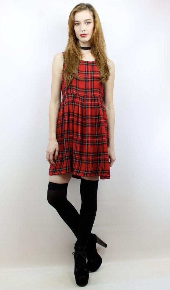 Vintage 90s Grunge Plaid Babydoll Mini Dress, fits S/M by shopEBV