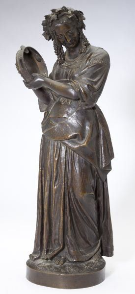 """Dantan (Fr., 1800-1869), The Tambourine 19th century bronze sculpture of a woman in peasant dress playing a tambourine, her hair braided and adorned with a grape vine wreath featuring grape bunches, finely cast with well-defined draping and articulated cymbals on tambourine, signed """"Dantan scpt"""" and """"Vittoz Bronzier"""" (a Parisian foundry). 15.75 in."""