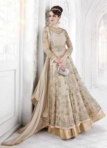 Golden Cream & Silver Net Embroidered Anarkali