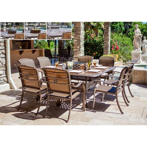 metzaluna 10-piece dining set with wood burning fire pit and ice
