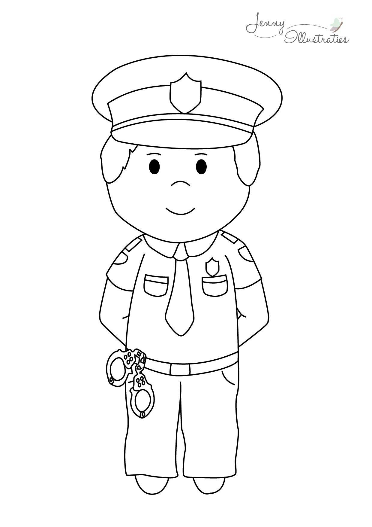kleurplaat politieman zoeken boy politie