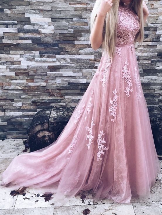High Neck Gorgeous Lace A-Line Pink Prom Dresses   prom   Pinterest