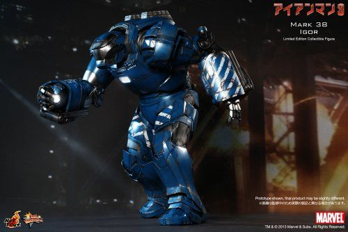 Iron Man 3 Movie Masterpiece Iron Man Mark 38 Igor 1:6 Collectible Figure  The 1/6th scale Igor (Mark XXXVIII) Collectible Figures special features:- Authentic likeness of Igor (Mark XXXVIII), the Heavy Lifting Suit, in Iron Man 3 – Approximately 43 cm tall- Over 25 points of articulations- Special features on armor:- Blue, silver and white colored painting with distress effect on armor- Fully deployed flaps at the back of the armor- LED-lighted eyes and rectangular-shaped RT on ches..