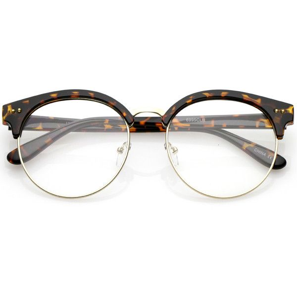 679610cd450f Women's round half frame clear lens cat eye glasses c023 ($15) ❤ liked on  Polyvore featuring accessories, eyewear, eyeglasses, cat-eye glasses, clear  lens ...