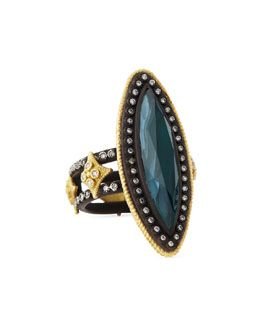 Y2FVN Armenta Malachite & London Blue Topaz Doublet Ring, Size 6