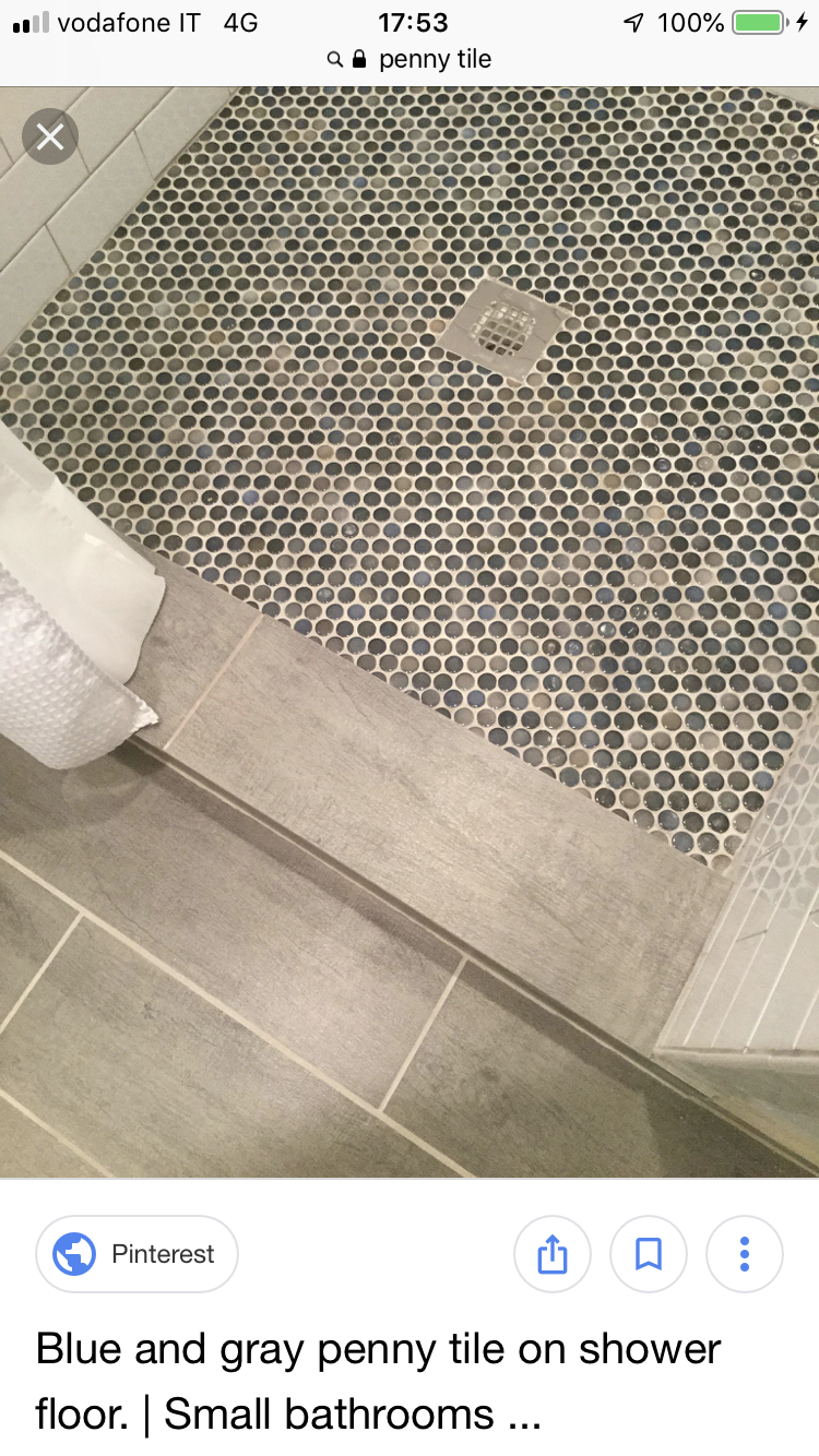 Pin By Cecile Cote On Bathroom In 2020 Shower Floor Penny Tile