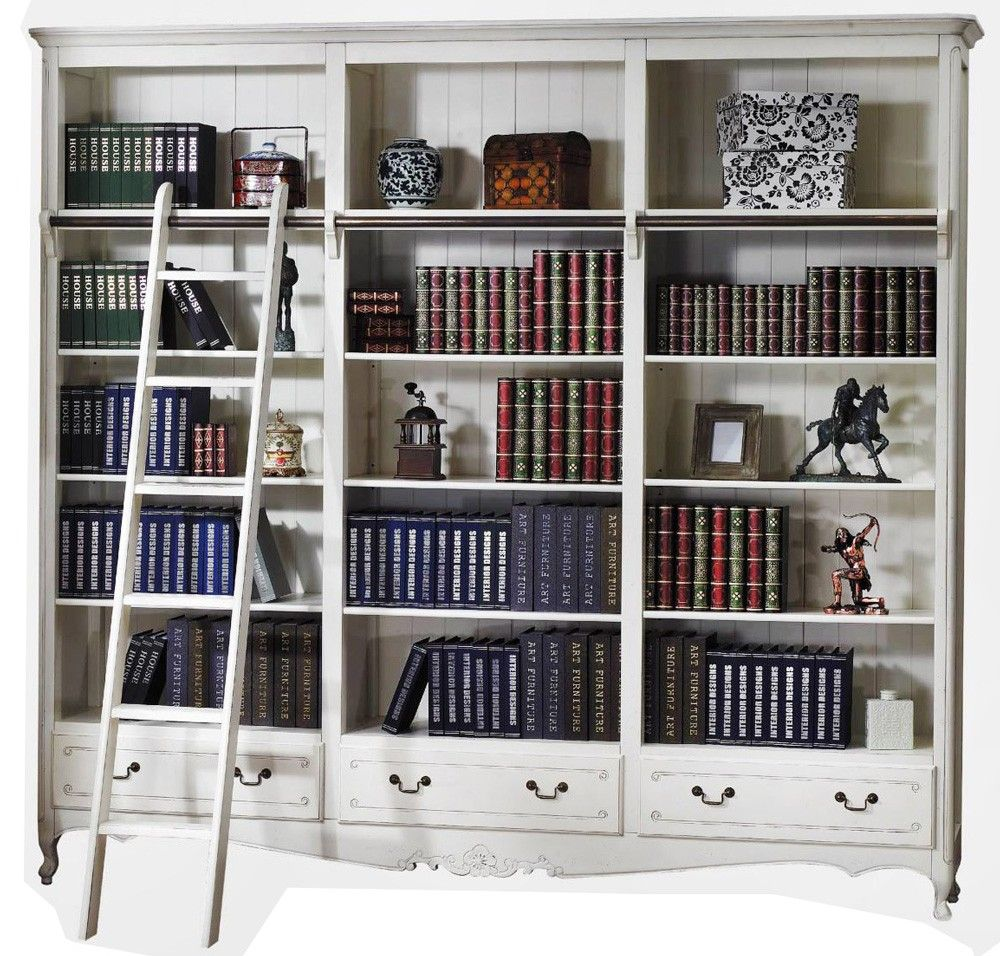 French Provincial Classic Library Bookcase Display Bookshelves With Ladder French Provincial Decor Library Bookcase Provincial Decor