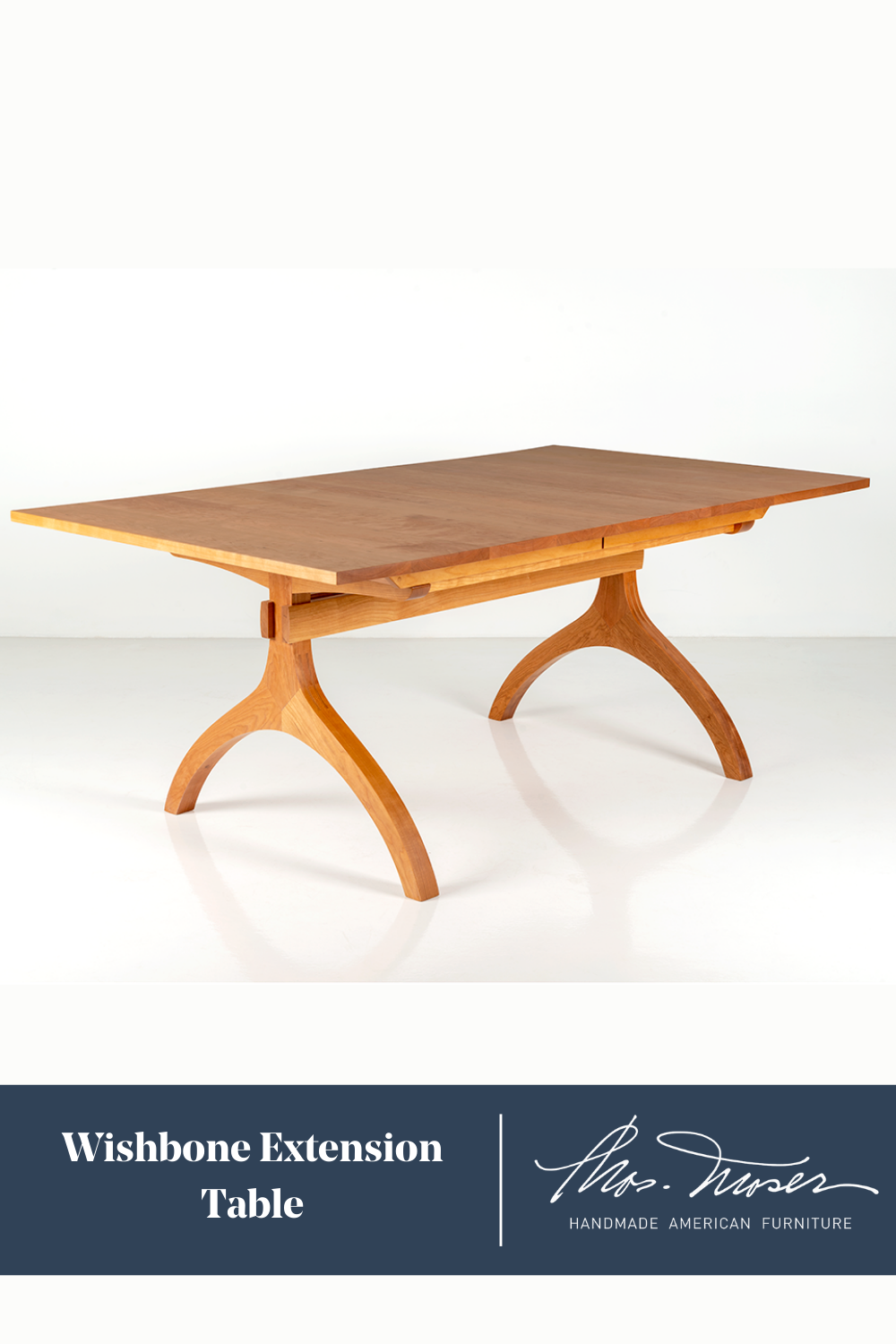 The Wishbone Extension Table easily glides open extending for more seating. When not in use, the tables' two leaf extensions self-store beneath the table top. Seats six when closed, ten when fully extended.  #extensiontable #woodentable #diningtable #familydiningroom #diningroom #furniture #table