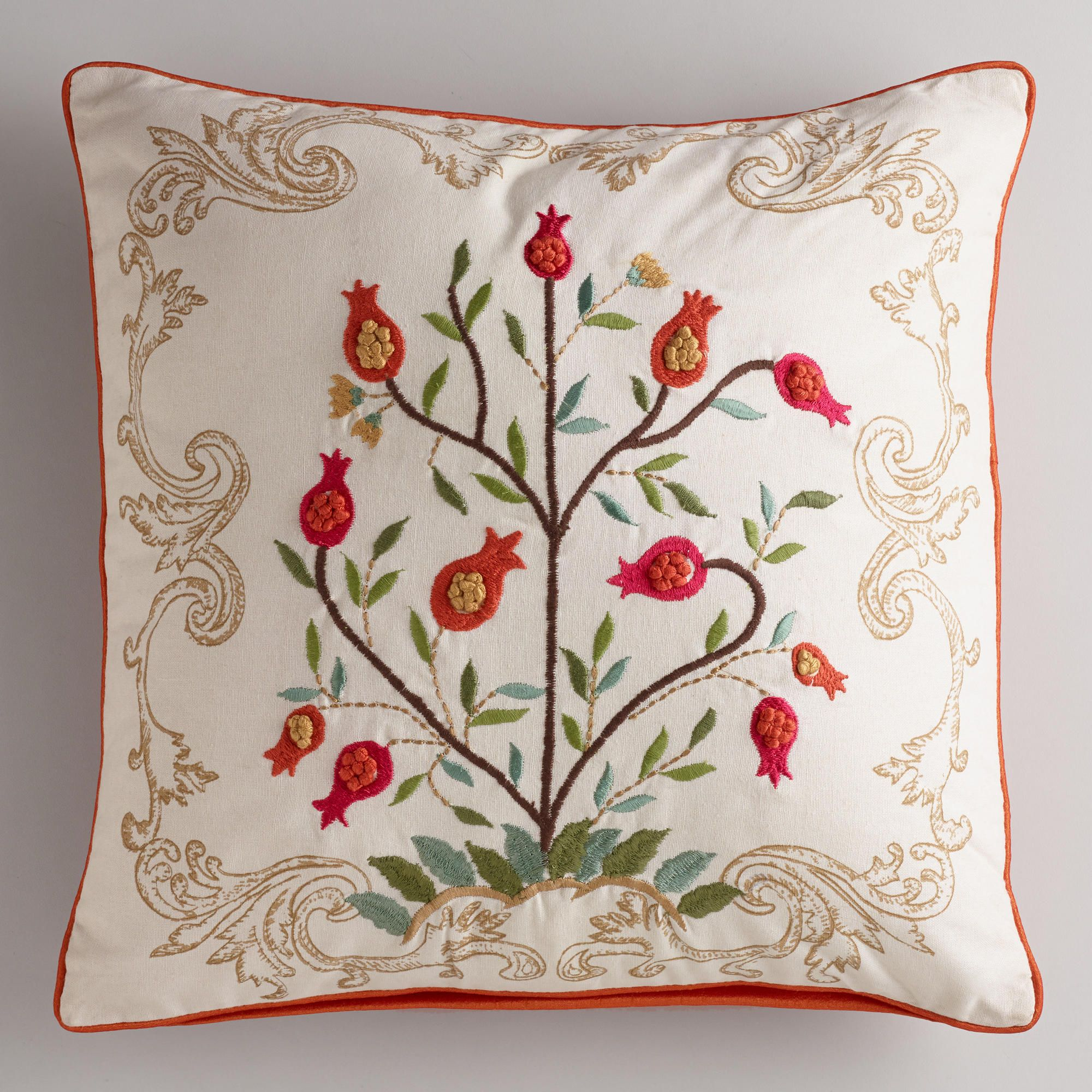 White floral tree embroidered throw pillow world market for the