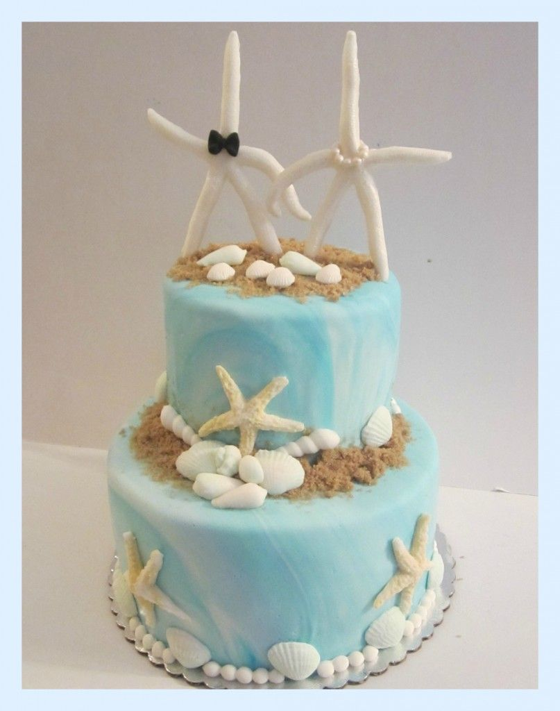 Beach Wedding Cake with Starfish Topper