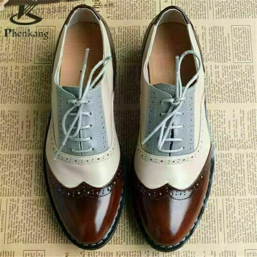 Mens Handmade Shoes Brown Leather White & Grey Oxf