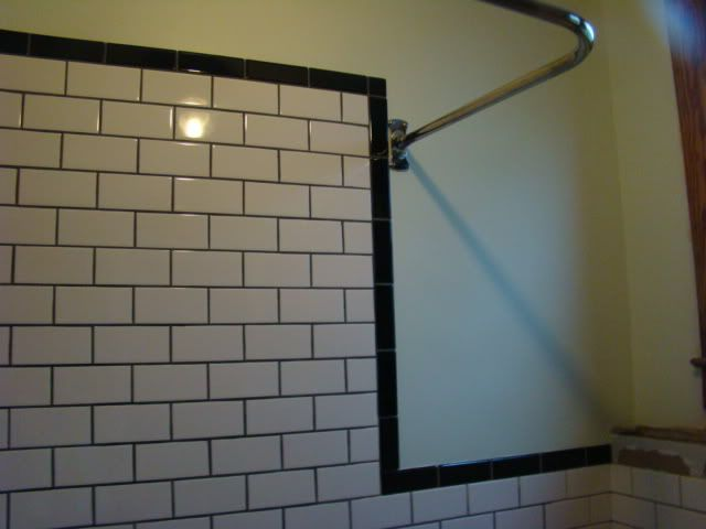 Black border with white subway tile grey grout kids for White subway tile with black grout bathroom