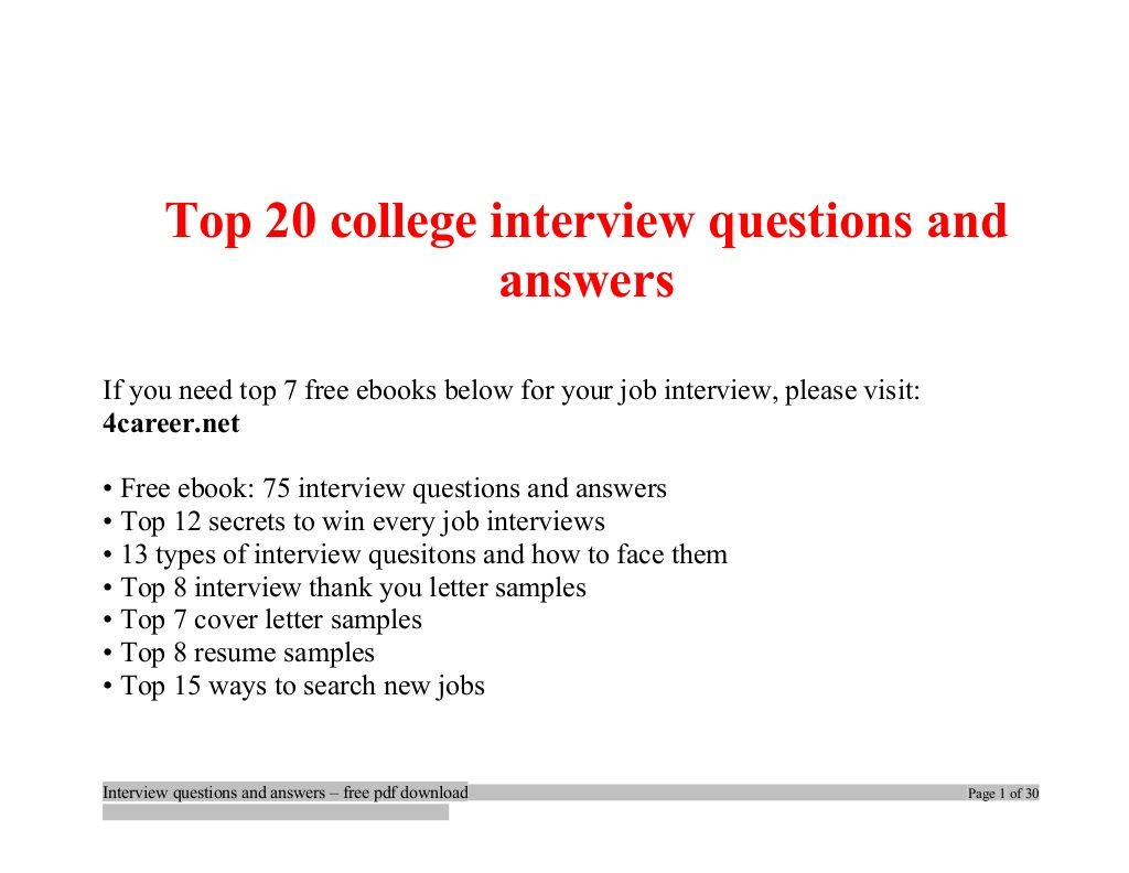 Top College Interview Questions And Answers Job Interview