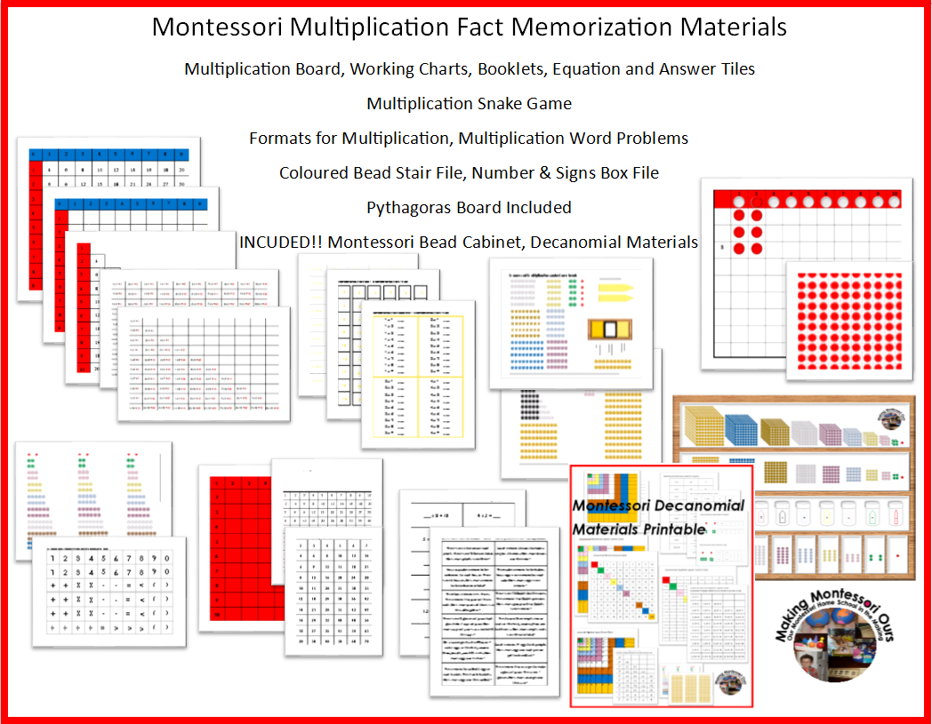 Making Montessori Ours Montessori Multiplication Tables
