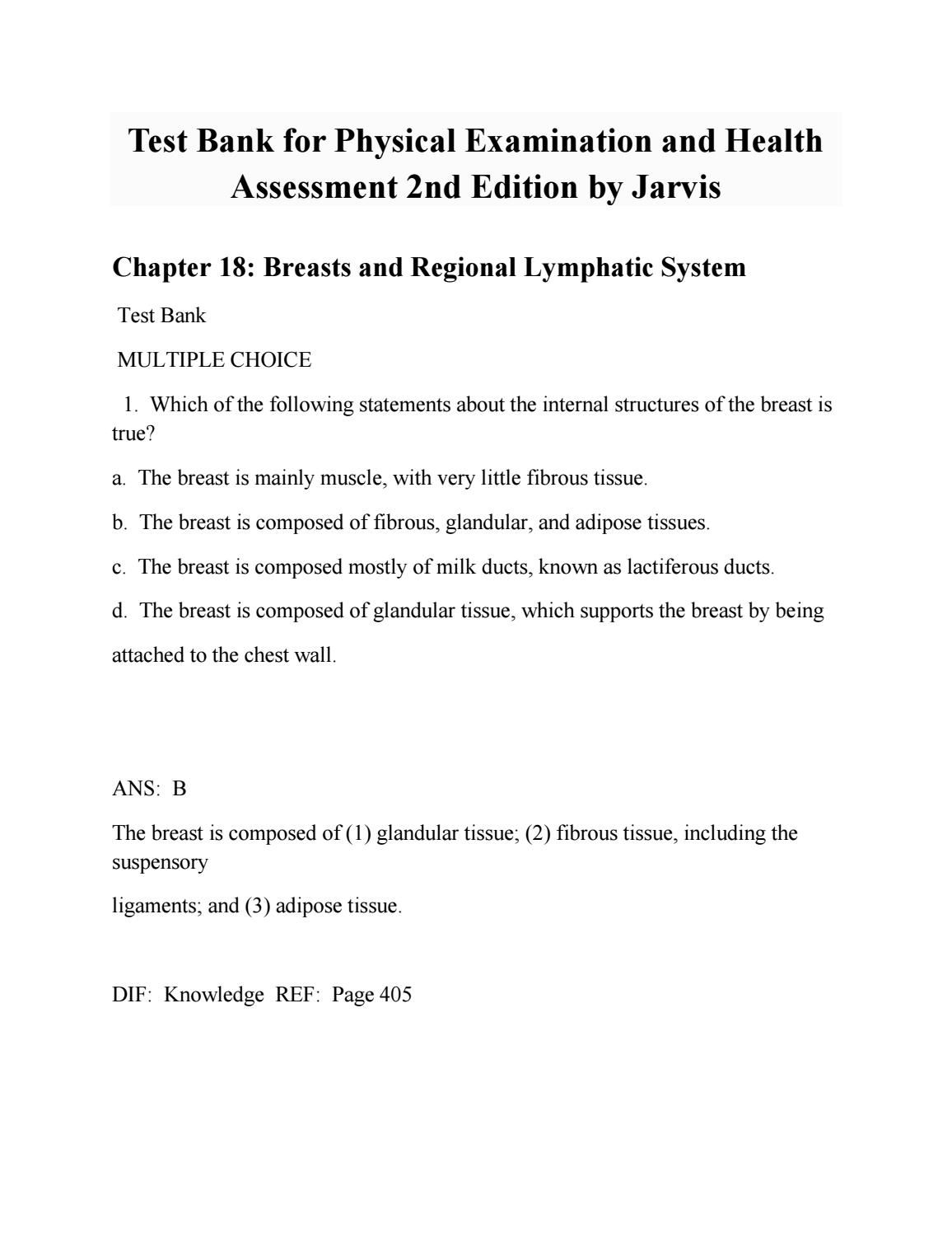 test bank for physical examination and health assessment 2nd edition rh pinterest com mx Jarvis Physical Exam Jarvis Physical Exam