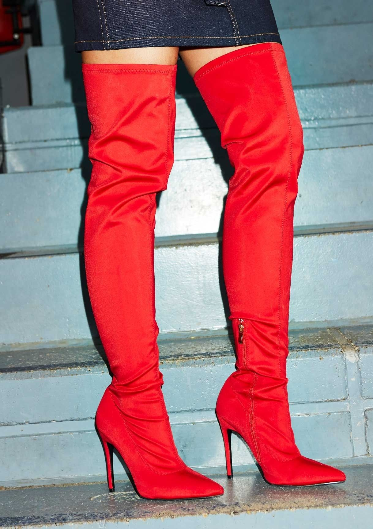 42e38551397 Stella Red Over The Knee Stiletto Sock Boot   ⚡️ track star ...