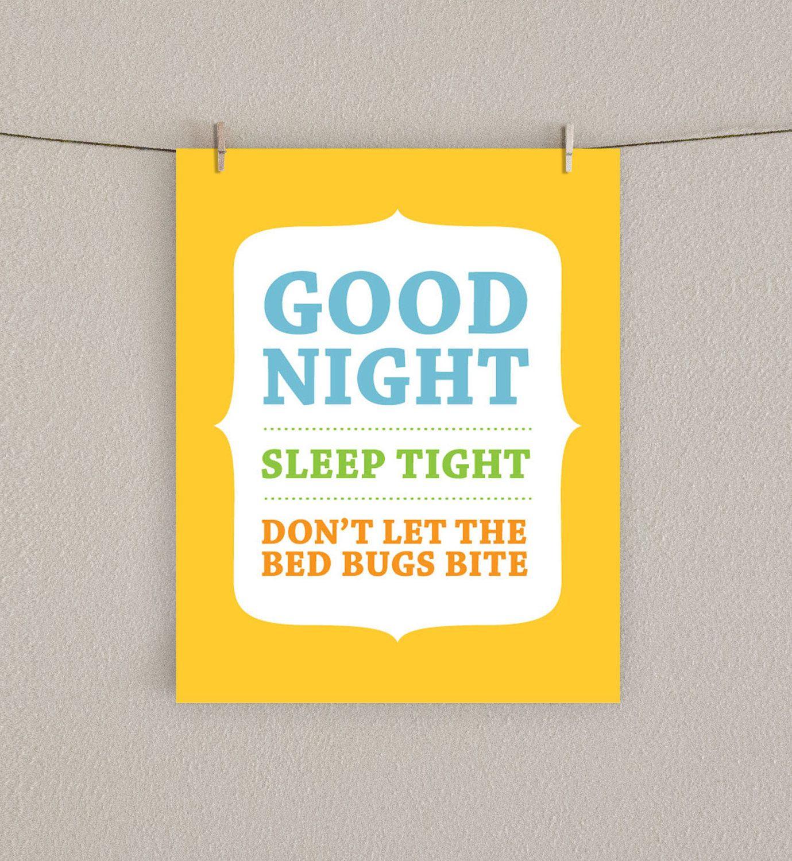 Nursery Art Print Good Night, Sleep Tight, Don't Let the