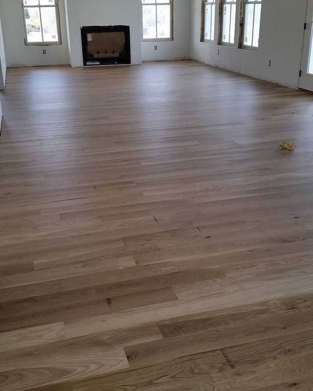 I Forgot To Post One Of The Finished Floors Chris Did A Great Job And Not Easy Job Sanded Sealed S Oak Floor Stains Wood Floor Stain Colors Oak Wood Stain
