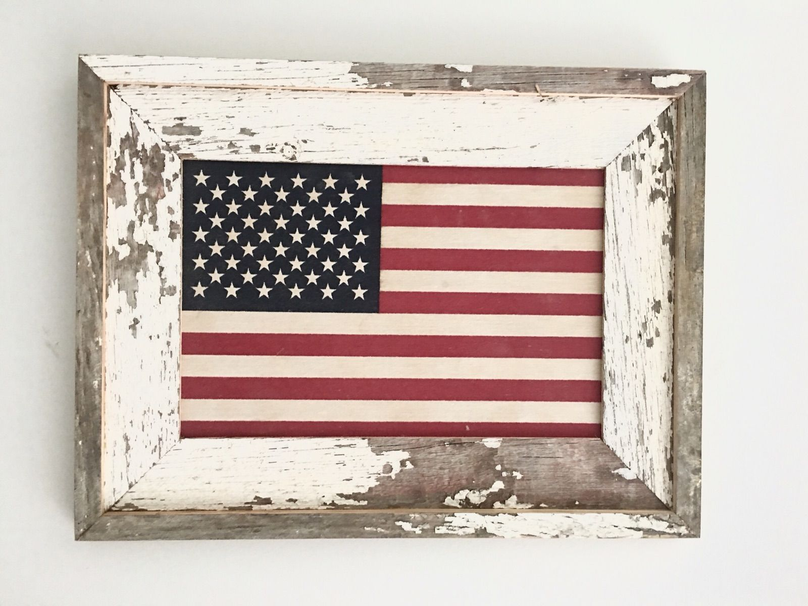 17x22 Framed American flag Century old reclaimed barn wood framing a ...