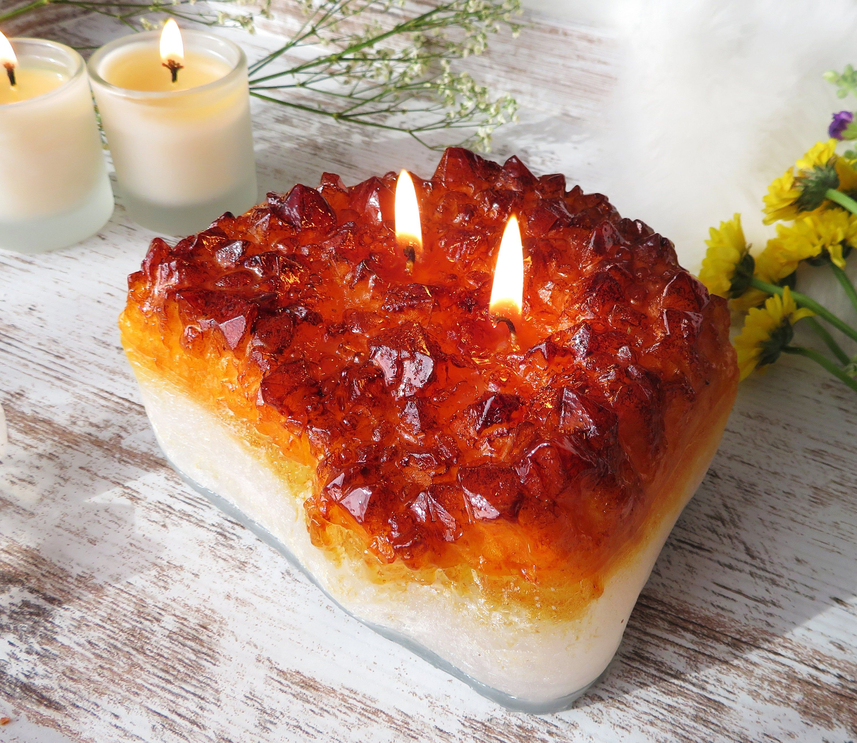 Crystal citrine candle black fig honey scented candle