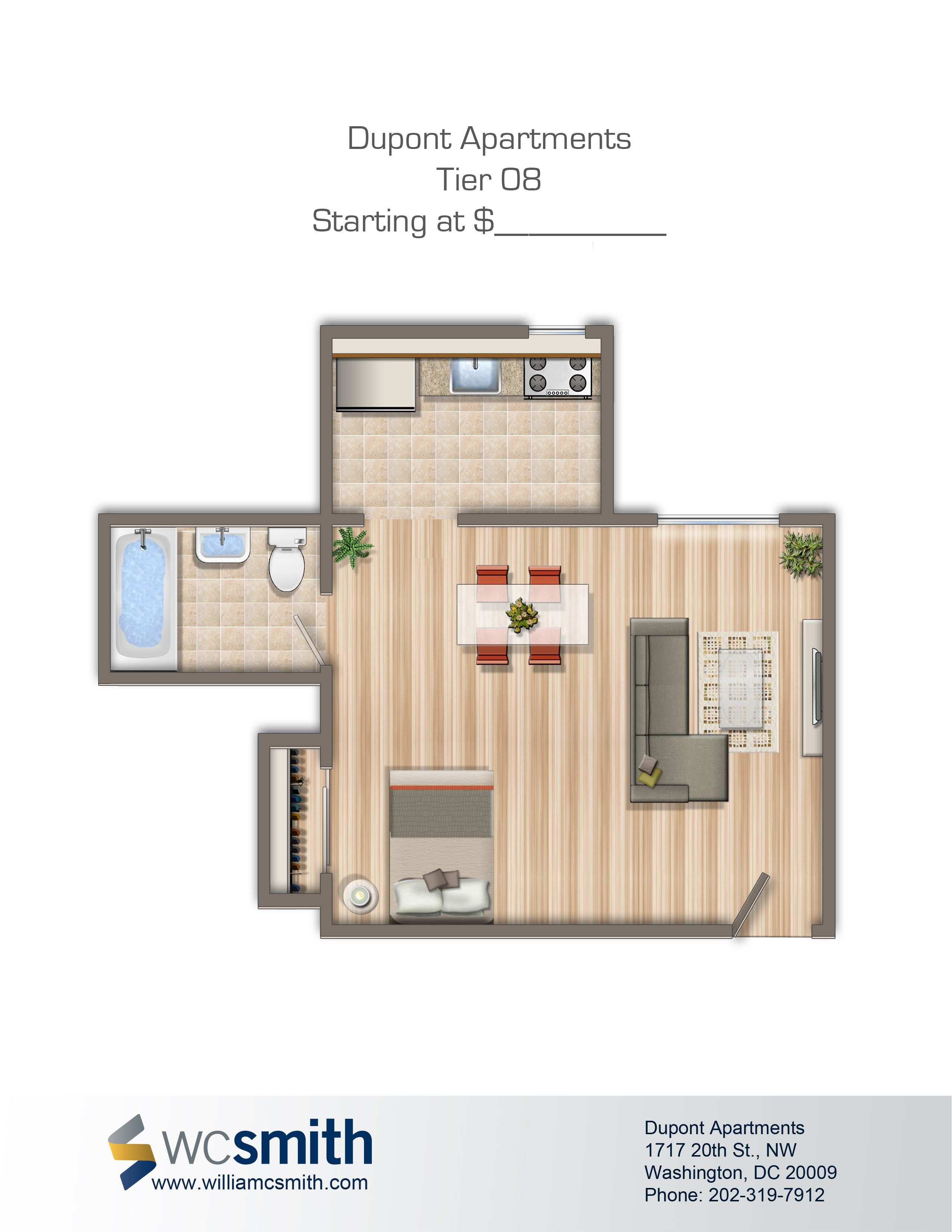 Studio Efficiency Floor Plan Dupont Apartments In Northwest Washington Dc Wc Smith Rentals
