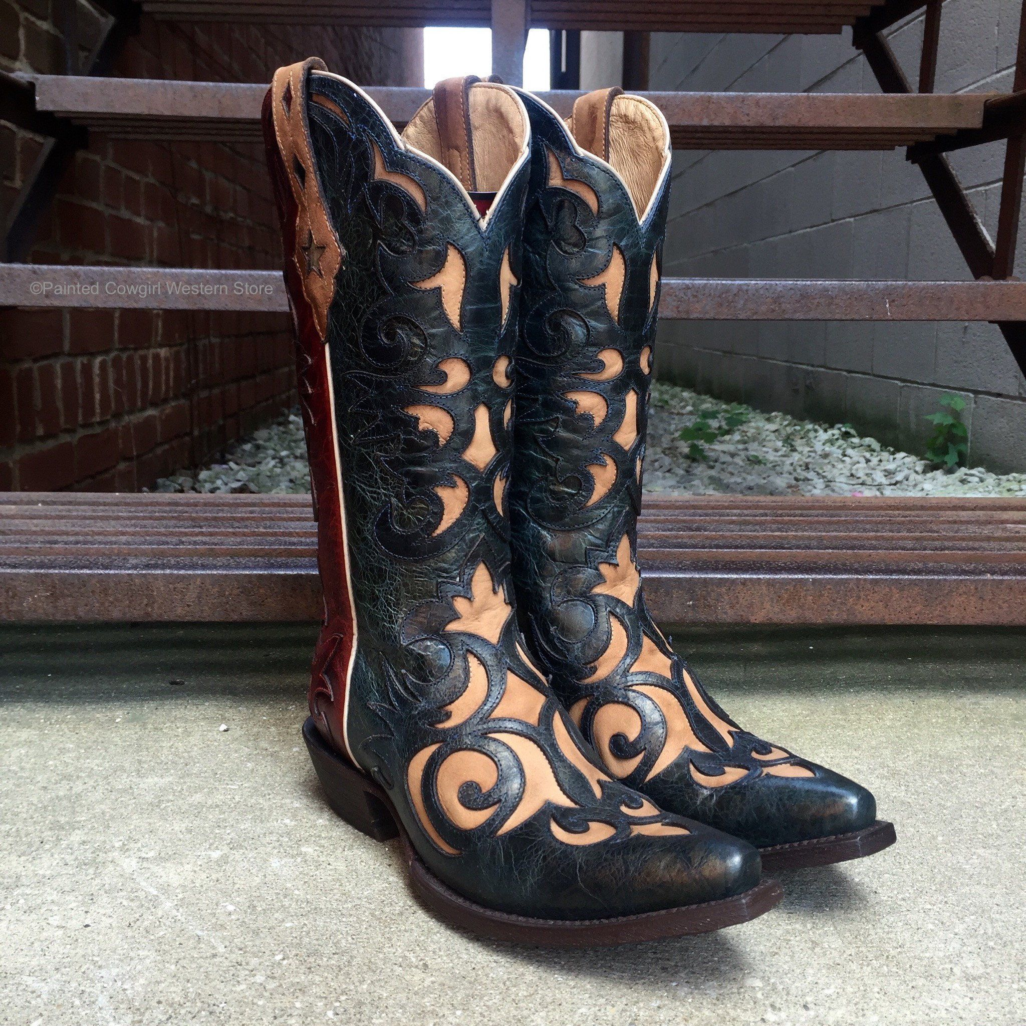 Ariat ladies sevilla redbluetan americana cowgirl boots
