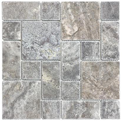 Beautiful Tile Travertine Silver Ash Tumbled Roman (sheet